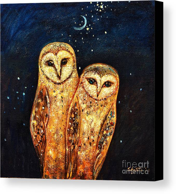 Owl Canvas Print featuring the painting Starlight Owls by Shijun Munns
