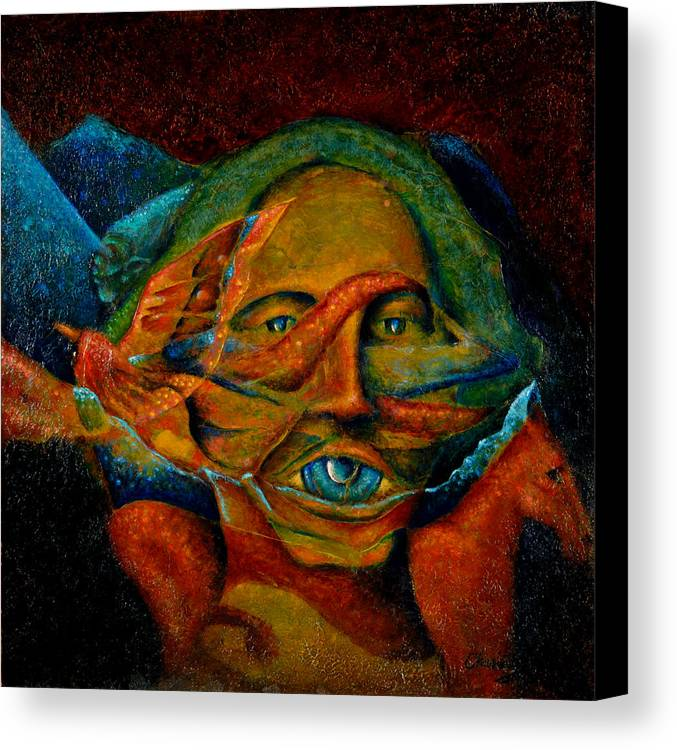 Native American Canvas Print featuring the painting Storyteller by Kevin Chasing Wolf Hutchins