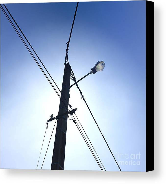 Wires Canvas Print featuring the photograph Street Lamp And Power Lines by Bernard Jaubert
