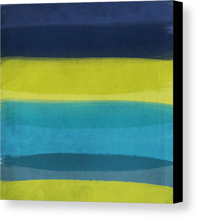Abstract Canvas Print featuring the painting Sun And Surf by Linda Woods