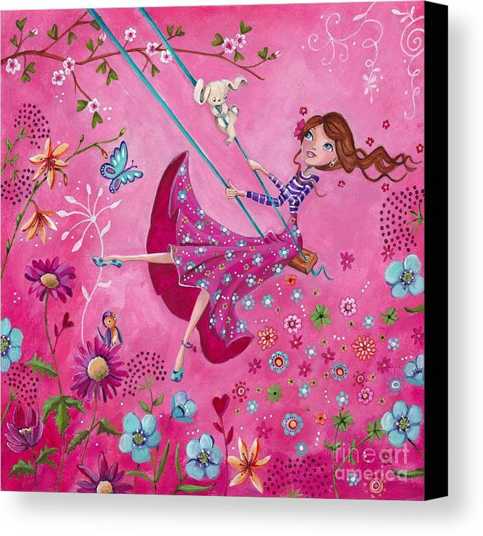 Cartita Design Canvas Print featuring the painting Swing Girl by Caroline Bonne-Muller