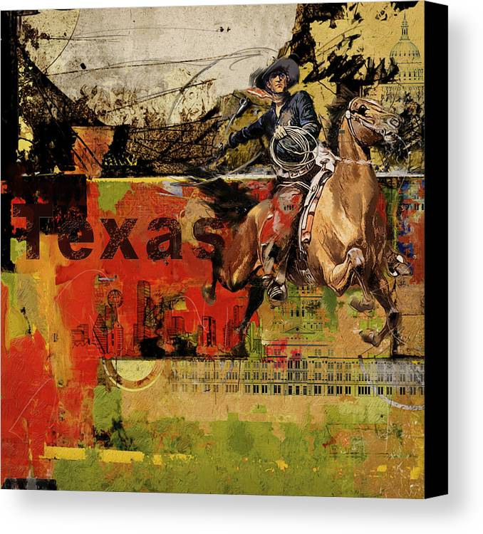 Texas Canvas Print featuring the painting Texas Rodeo by Corporate Art Task Force