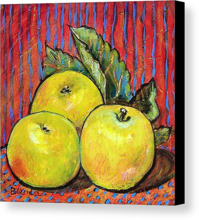 Painting Canvas Print featuring the painting Three Yellow Apples by Blenda Studio
