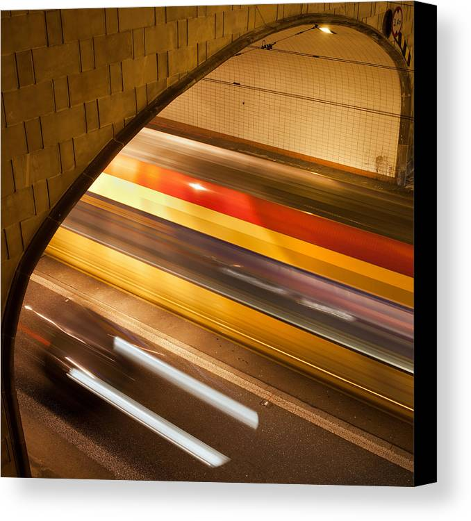 Abstract Canvas Print featuring the photograph Tunnel Light Trails by Artur Bogacki