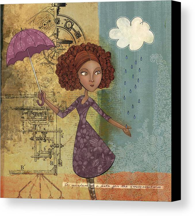 Girl Canvas Print featuring the digital art Umbrella Girl by Karyn Lewis Bonfiglio
