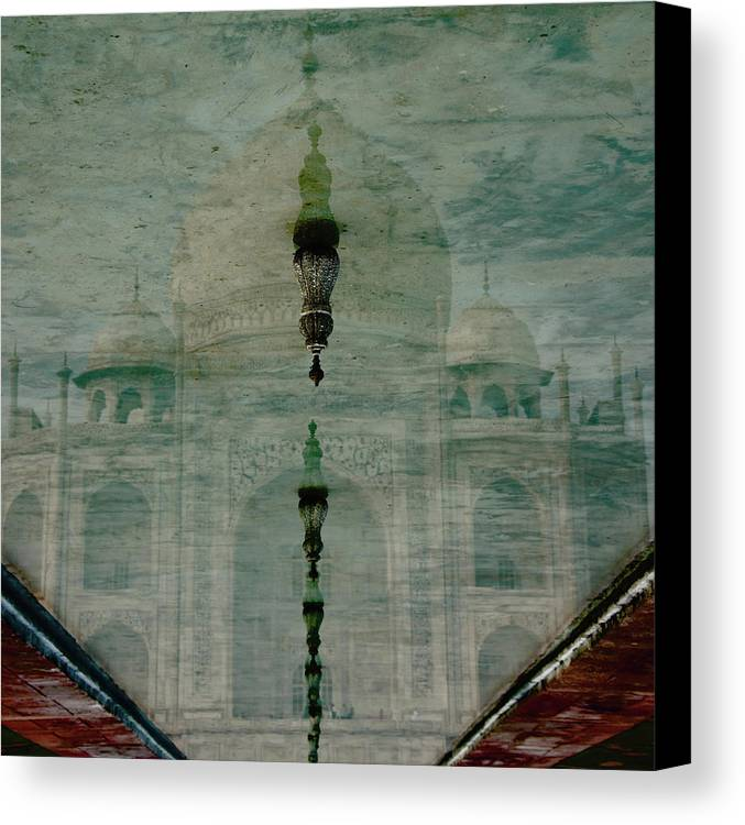 Dome Canvas Print featuring the photograph Upside-down Reflection Of Taj Mahal by Nick Dale