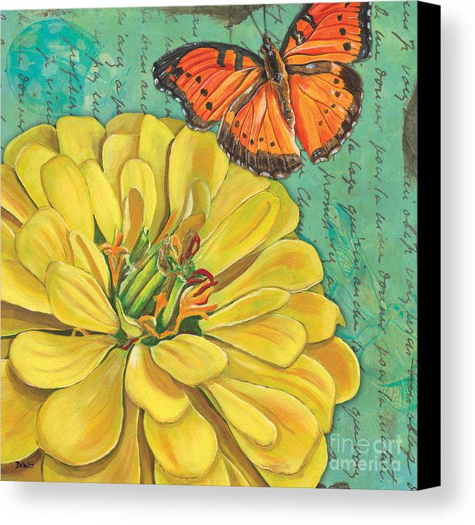 Floral Canvas Print featuring the painting Verdigris Floral 2 by Debbie DeWitt