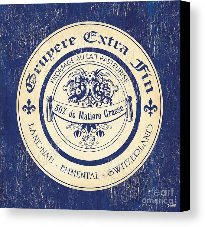 Cuisine Canvas Print featuring the painting Vintage Cheese Label 5 by Debbie DeWitt