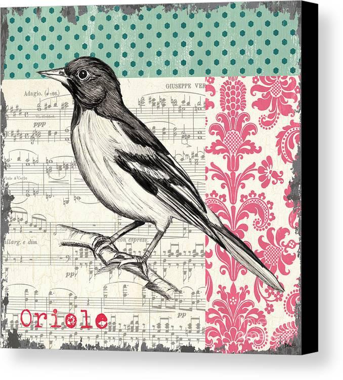 Bird Canvas Print featuring the painting Vintage Songbird 2 by Debbie DeWitt
