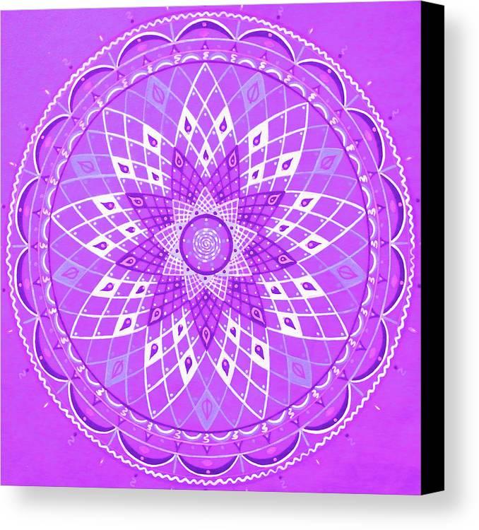 Mandala Violet Sacred Abstract Meditation Canvas Print featuring the painting Violet Mandala by Vlatka Kelc