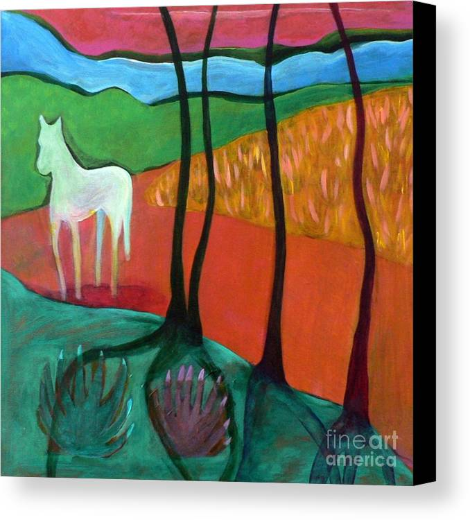 White Horse Canvas Print featuring the painting White Horse by Elizabeth Fontaine-Barr