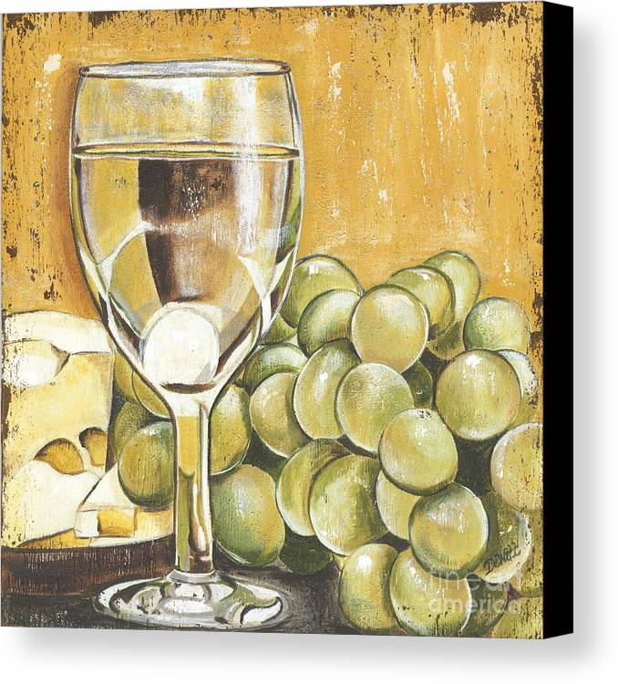 White Wine Canvas Print featuring the painting White Wine And Cheese by Debbie DeWitt
