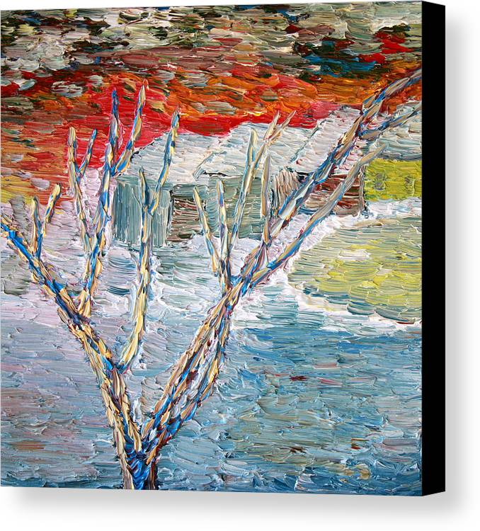 Winter Canvas Print featuring the painting Winter Sunset by Vadim Levin
