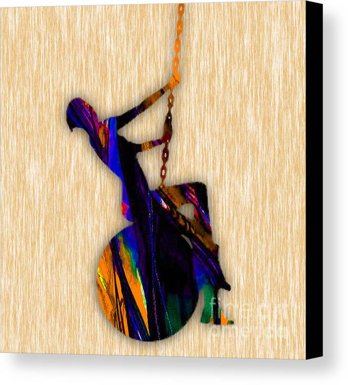 Miley Cyrus Canvas Print featuring the mixed media Wrecking Ball Miley Cyrus by Marvin Blaine
