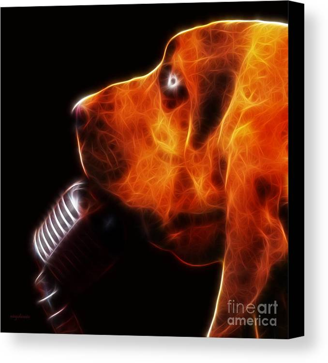 Animal Canvas Print featuring the photograph You Ain't Nothing But A Hound Dog - Dark - Electric by Wingsdomain Art and Photography