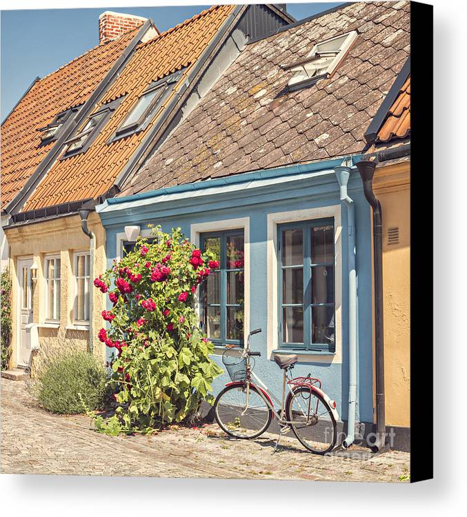 Ystad Canvas Print featuring the photograph Ystad Cottages by Sophie McAulay