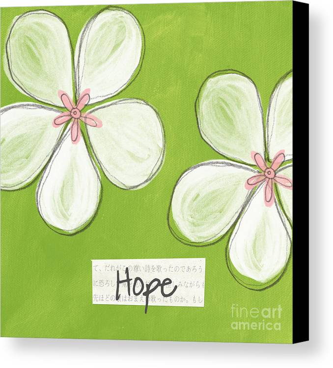 cherry Blossoms Canvas Print featuring the painting Cherry Blossom Hope by Linda Woods