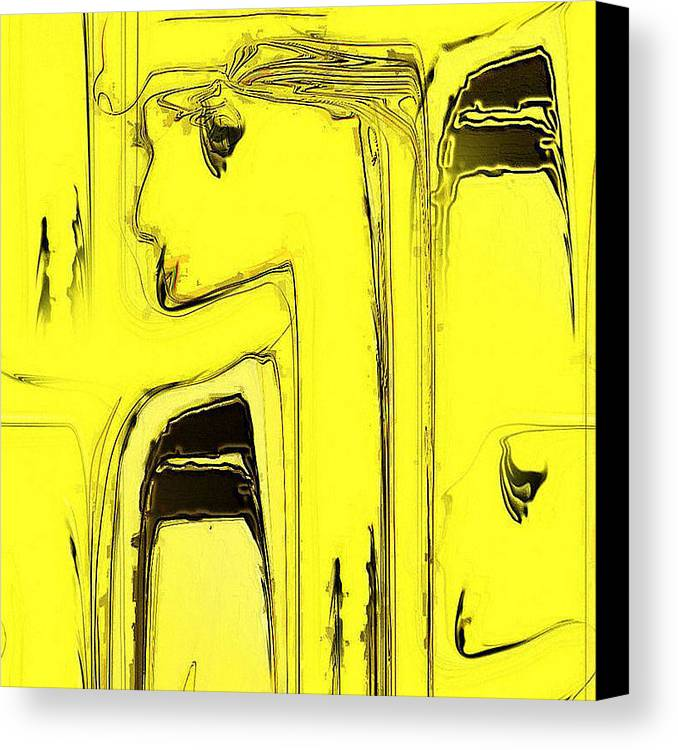 Digital Canvas Print featuring the digital art Lady In Yellow by Ilona Burchard