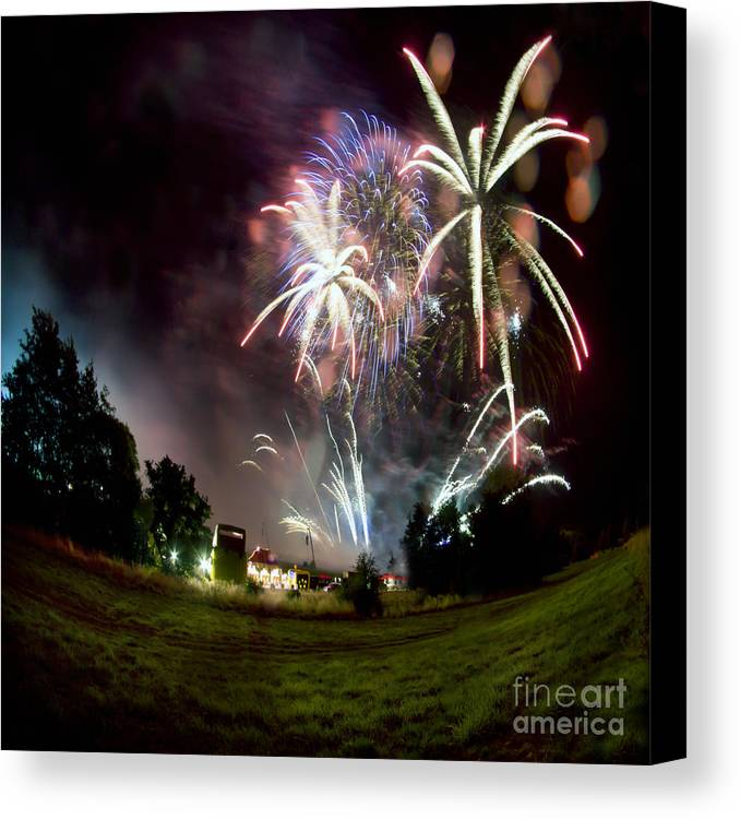 Night Canvas Print featuring the photograph Fireworks by Angel Ciesniarska
