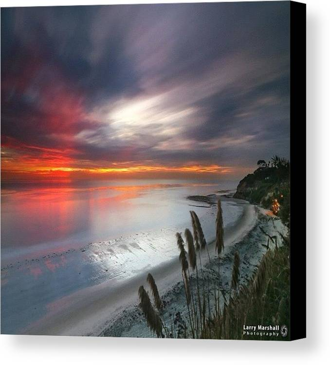 Canvas Print featuring the photograph Long Exposure Sunset At A North San by Larry Marshall