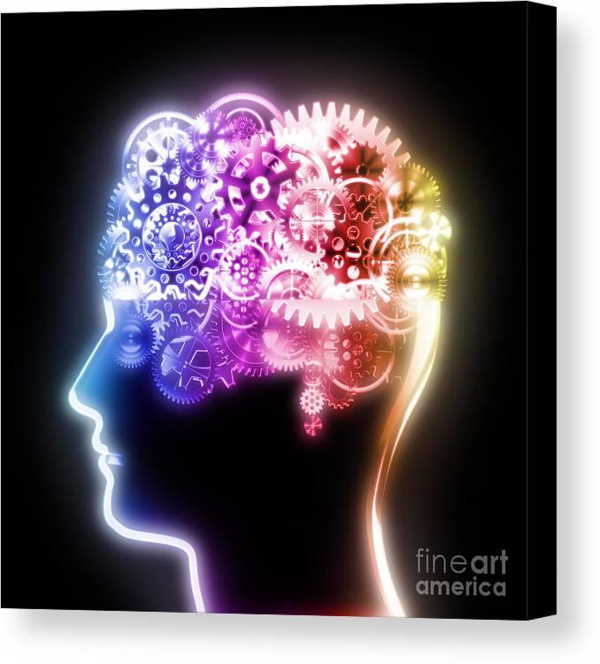 Art Canvas Print featuring the photograph Brain Design By Cogs And Gears by Setsiri Silapasuwanchai