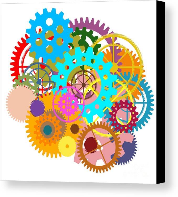 Art Canvas Print featuring the painting Gears Wheels Design by Setsiri Silapasuwanchai