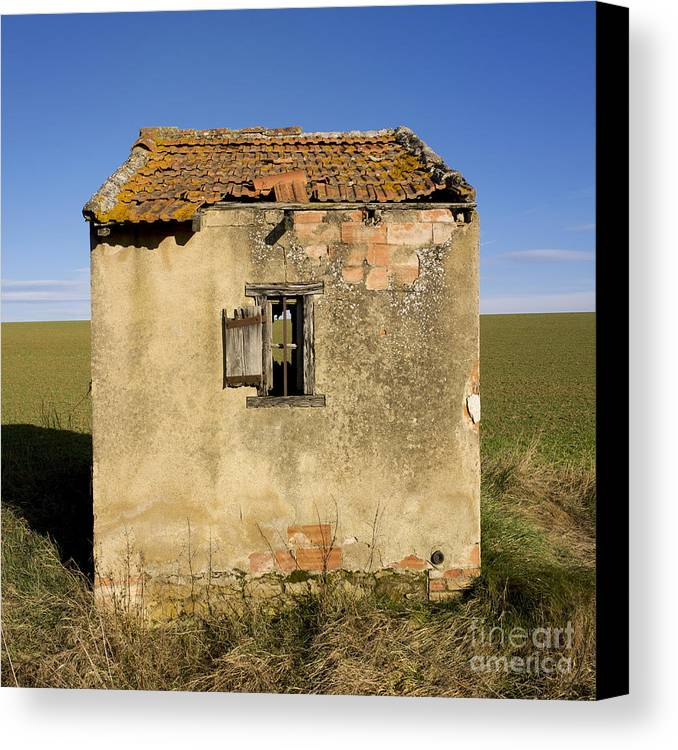 Window Canvas Print featuring the photograph Aged Hut In Auvergne. France by Bernard Jaubert