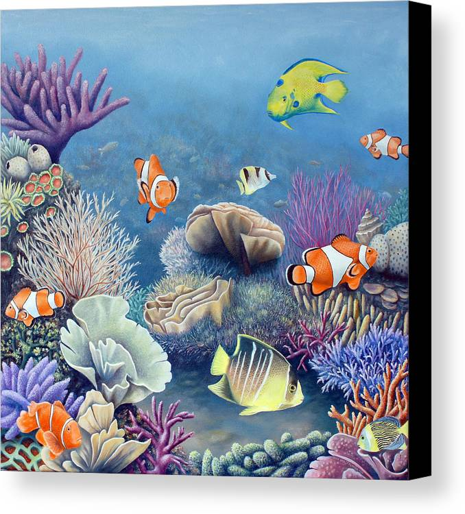 Ocean Canvas Print featuring the painting Coral Reef by Rick Borstelman