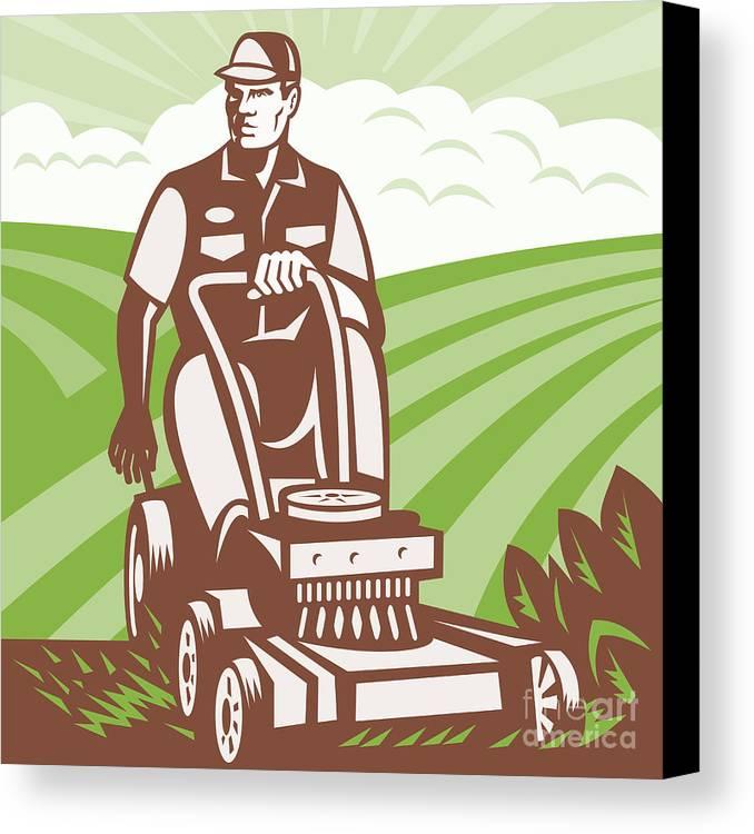 Gardener Canvas Print featuring the digital art Gardener Landscaper Riding Lawn Mower Retro by Aloysius Patrimonio