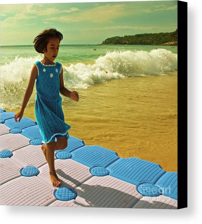 Girl Canvas Print featuring the photograph Girl In A Knitted Dress by Paul Grand