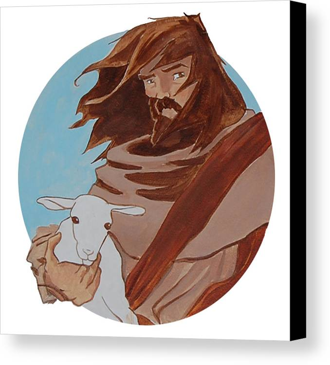 Religious Canvas Print featuring the painting Good Shepherd 2 by Miguel De Angel