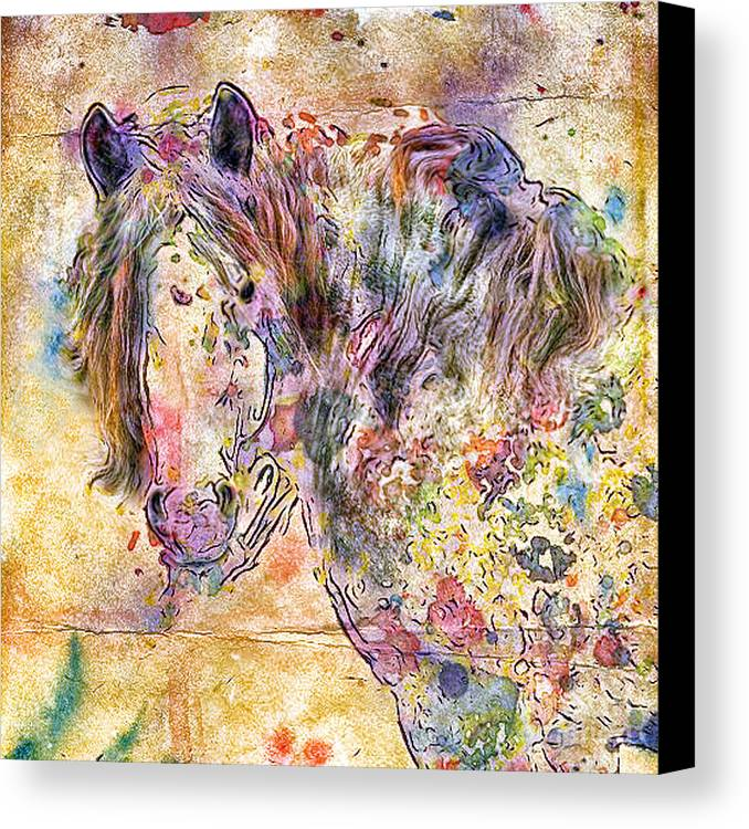 Horses Canvas Print featuring the digital art Gypsy Babe by Marilyn Sholin