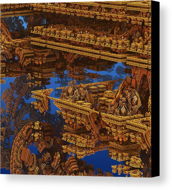 Galaxy Canvas Print featuring the digital art Inca Gold In The Galaxy Pawnshop. by Tautvydas Davainis