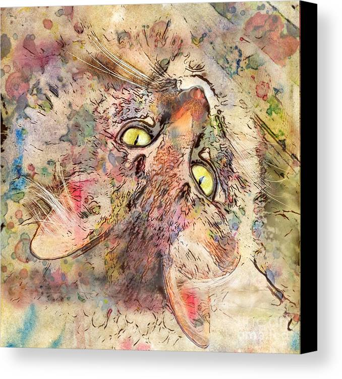 Cats Canvas Print featuring the digital art Kitty Fluffs by Marilyn Sholin