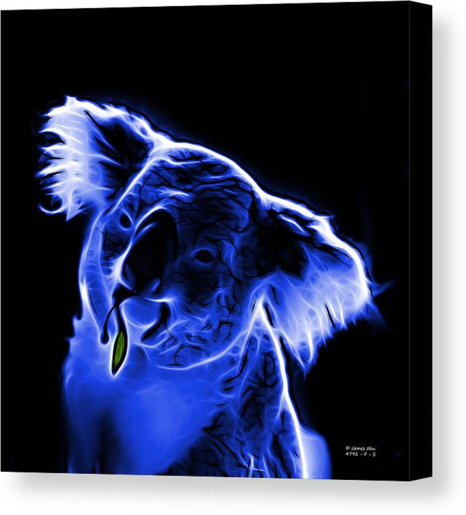 Koala Canvas Print featuring the digital art Koala Pop Art - Blue by James Ahn
