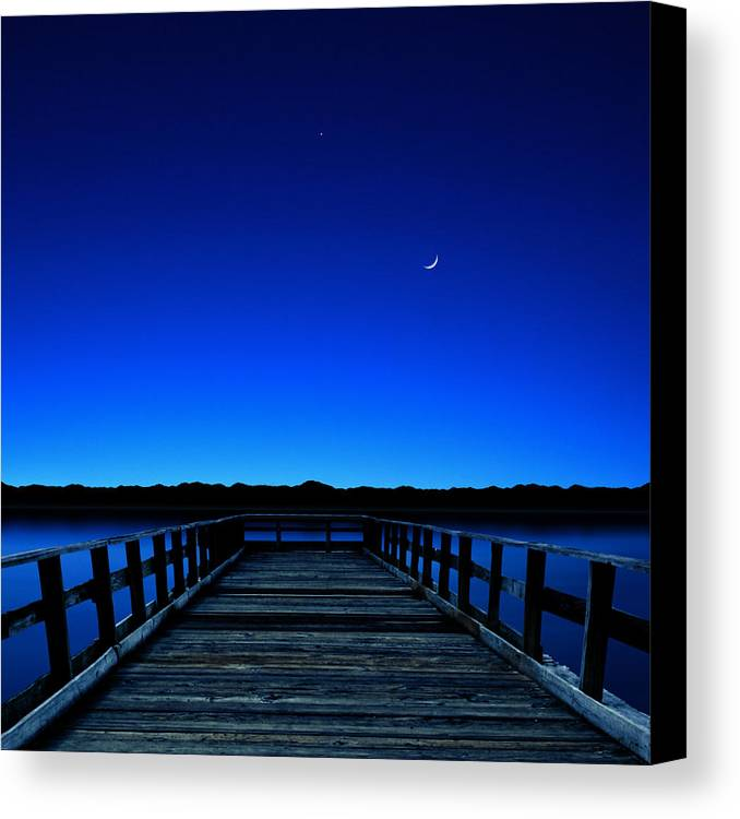 Square Canvas Print featuring the photograph Moon And Venus In The Blue by Carlos Gotay