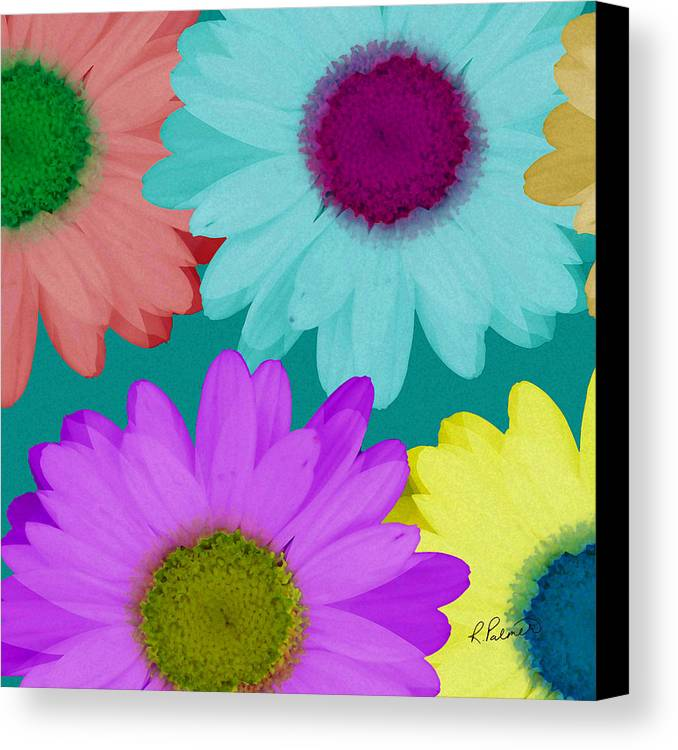 Daisy Canvas Print featuring the mixed media Oversize Daisies Two by Ruth Palmer