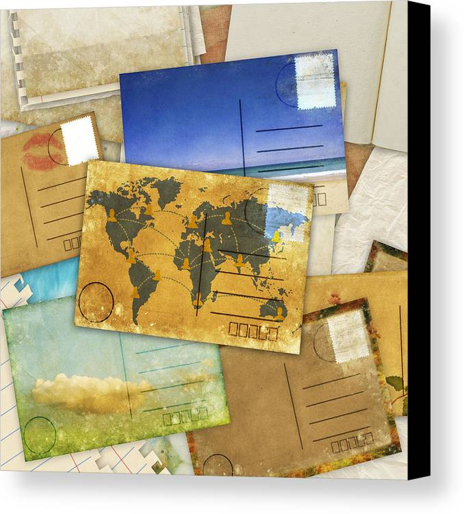 Abstract Canvas Print featuring the photograph Postcard And Old Papers by Setsiri Silapasuwanchai