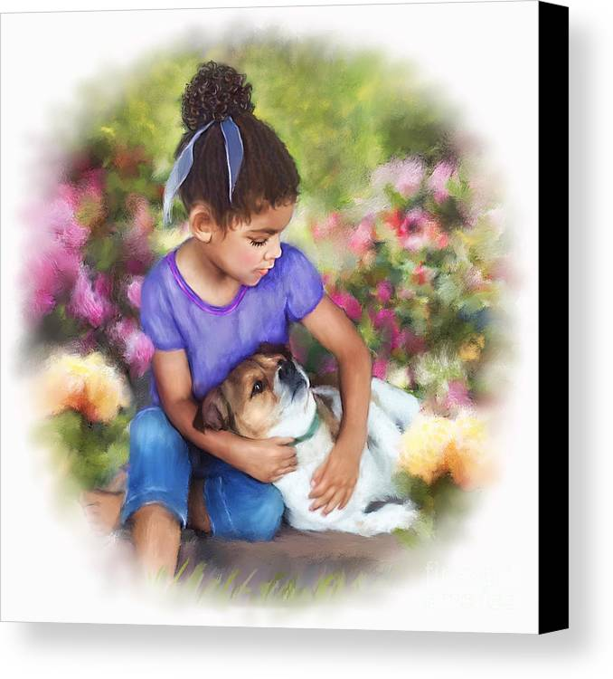 Puppy Love Canvas Print featuring the mixed media Puppy Love by Dawn Serkin