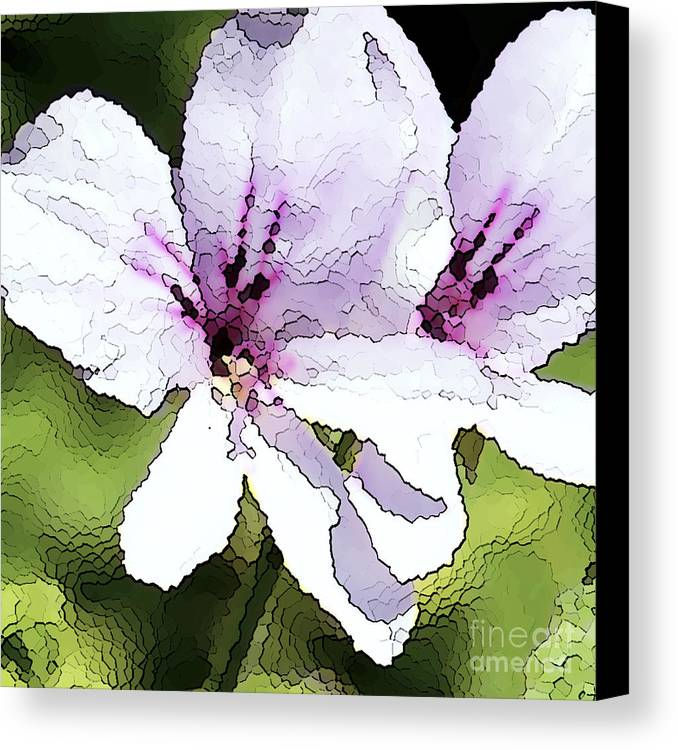 Geranium Canvas Print featuring the painting Purple Geranium by Artist and Photographer Laura Wrede