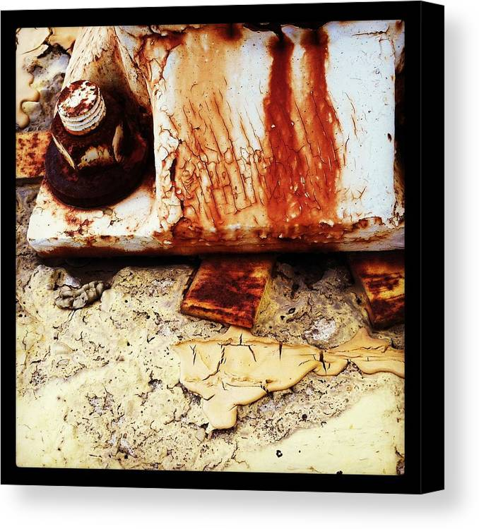Rust Canvas Print featuring the photograph Rusty Bolt Abstraction by Anna Villarreal Garbis