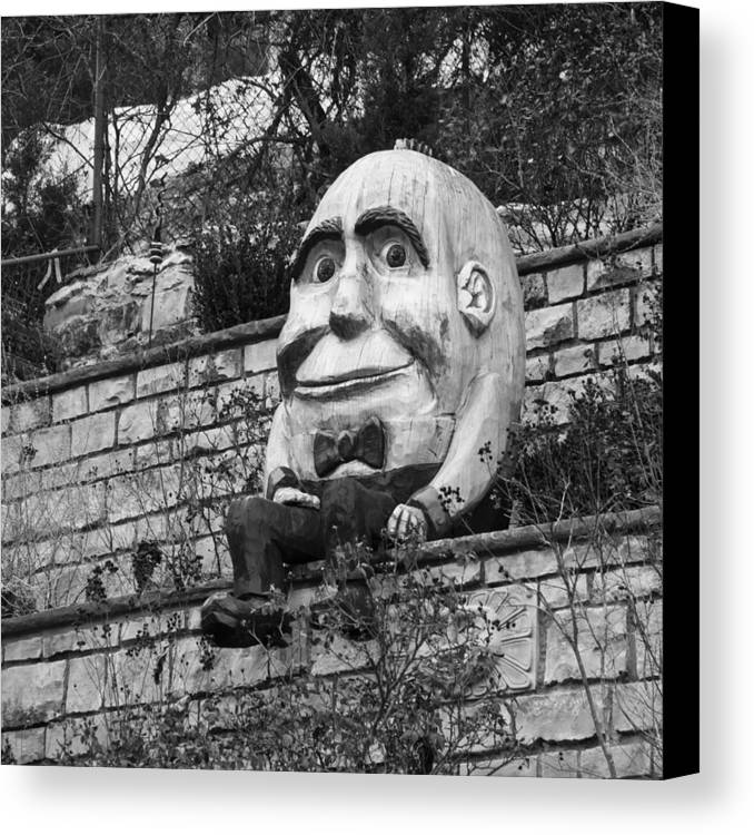 Humpty Dumpty Canvas Print featuring the photograph Sat On A Wall by David Waldo