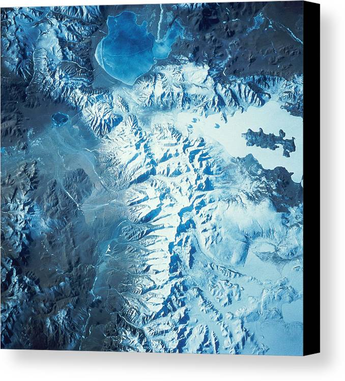 Square Canvas Print featuring the photograph Satellite Image Of A Mountain Range by Stocktrek