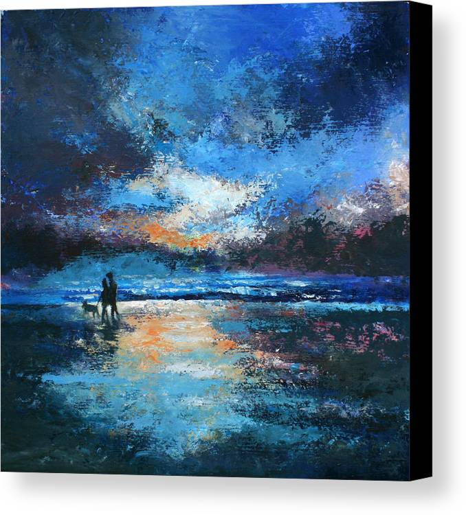 Beach Canvas Print featuring the painting Sunset Walkies by Graham Brock