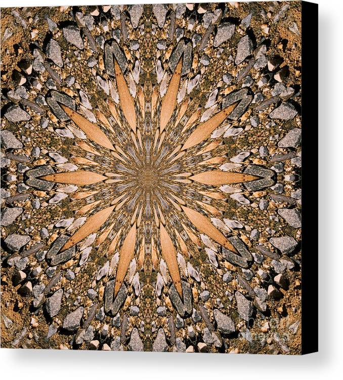 Photograph Canvas Print featuring the photograph Terracotta Stone Medallion 1 by Susan Smith