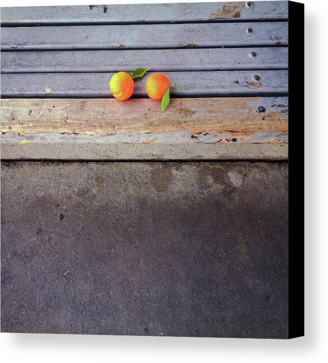 Square Canvas Print featuring the photograph Two Tangerines by Sarah Palmer
