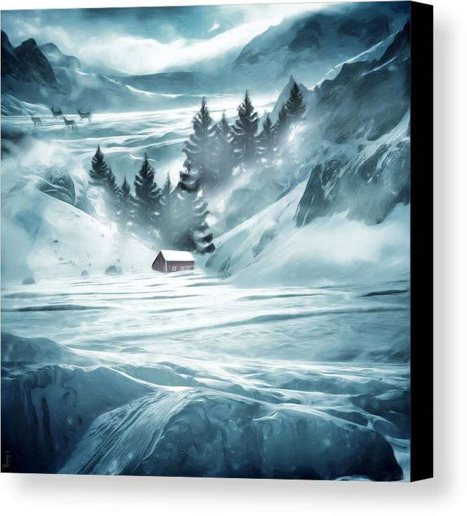 Barn Canvas Print featuring the digital art Winter Seclusion by Lourry Legarde
