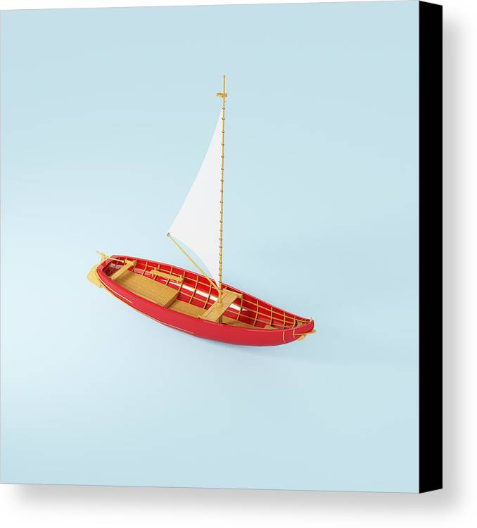 Square Canvas Print featuring the photograph Wooden Toy Sailing Boat by Jon Boyes