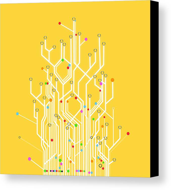 Abstract Canvas Print featuring the photograph Circuit Board Graphic by Setsiri Silapasuwanchai