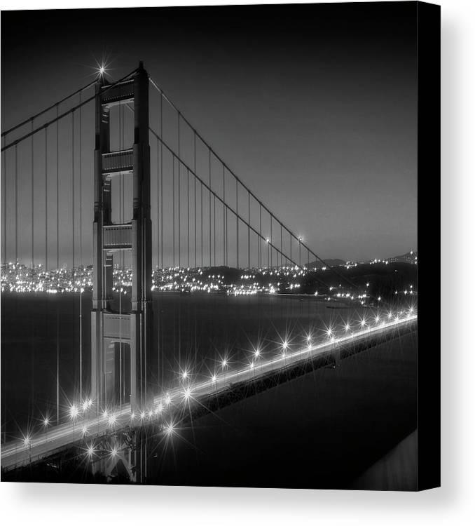America Canvas Print featuring the photograph Evening Cityscape Of Golden Gate Bridge - Monochrome by Melanie Viola